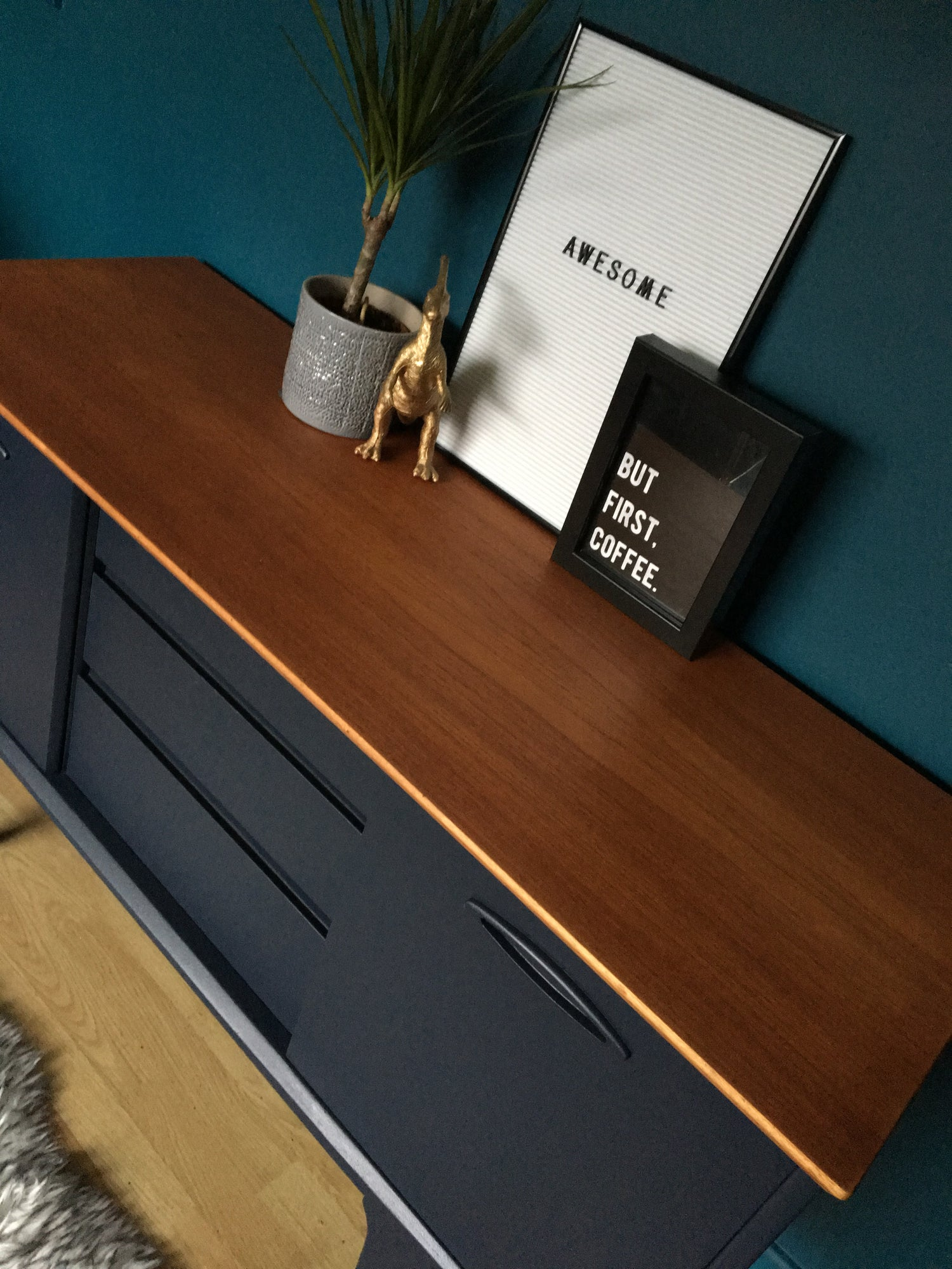 Image of Dark blue solid teak Jentique sideboard
