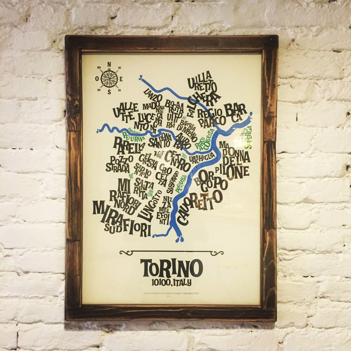 Image of FRAMED TYPOGRAPHIC MAP