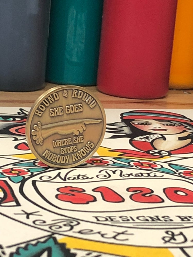 Image of **LIMITED**Round and Round spinning coin/Nate Moretti print combo