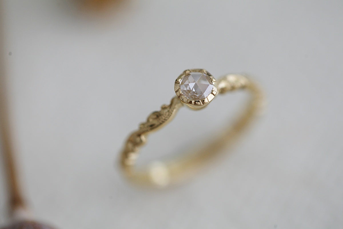 Image of 18ct gold 4.0mm Rose cut diamond ring (made to order)