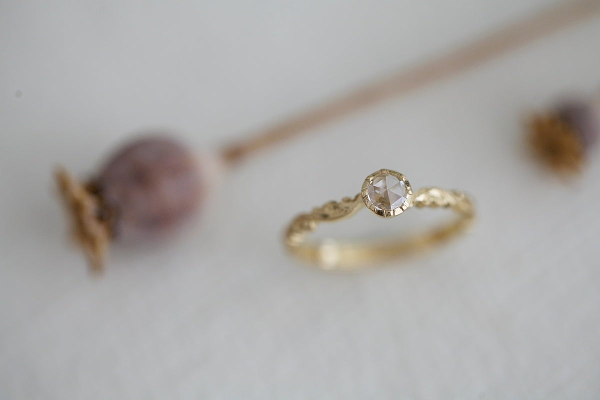 Image of *NEW* 18ct gold 4.0mm Rose cut diamond ring {IOW88}