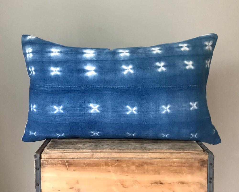 "Image of Light Blue Mudcloth Pillow 26""x16"""