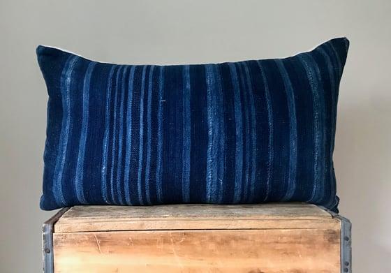 """Image of Indigo Striped Mudcloth Pillow """"26x16"""""""