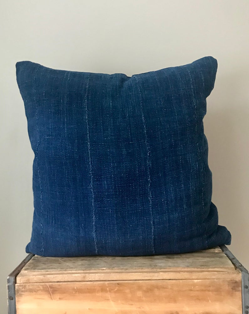 Image of Navy Mudcloth Pillow