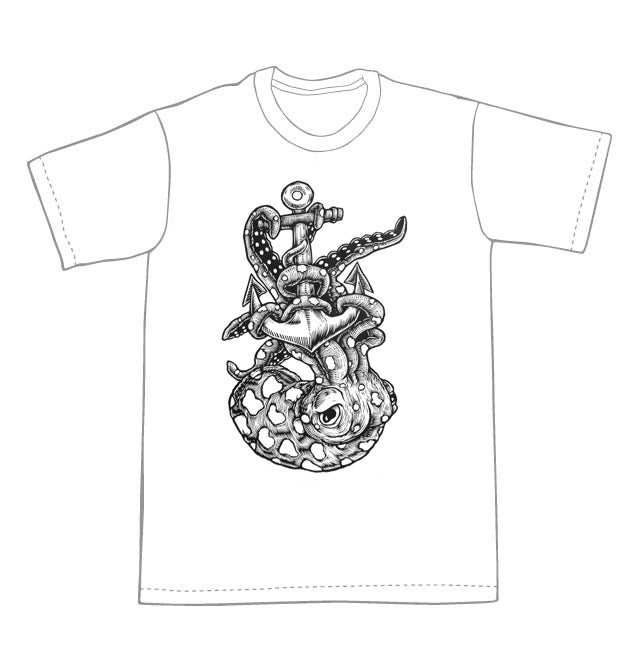 Octopus and an Anchor T-shirt (A3) **FREE SHIPPING**