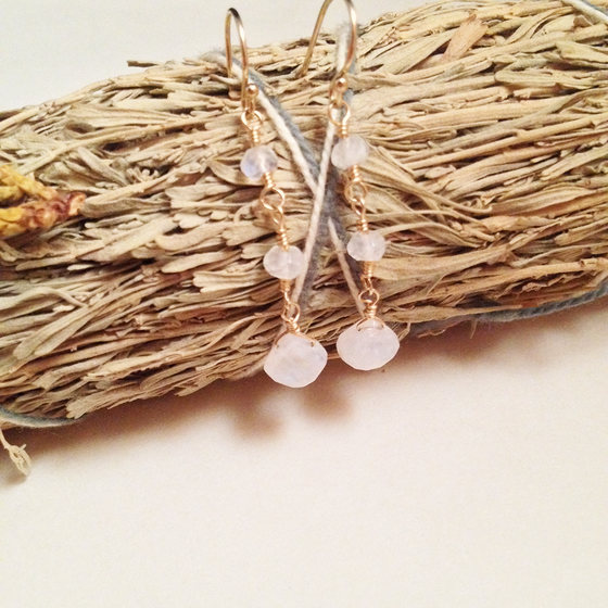 Image of The Star Rainbow Moonstone 14kt Gold Filled Natural Gemstone Earrings | Elegant Minimalist Witch