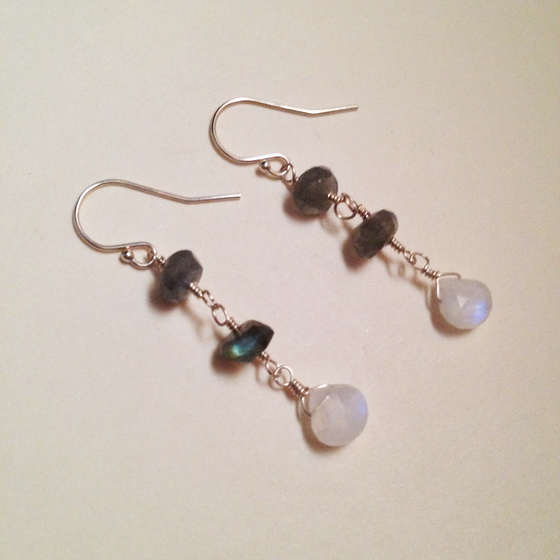 Image of The Moon Labradorite Rainbow Moonstone Sterling Silver Natural Gemstone Earrings | Handmade Witch