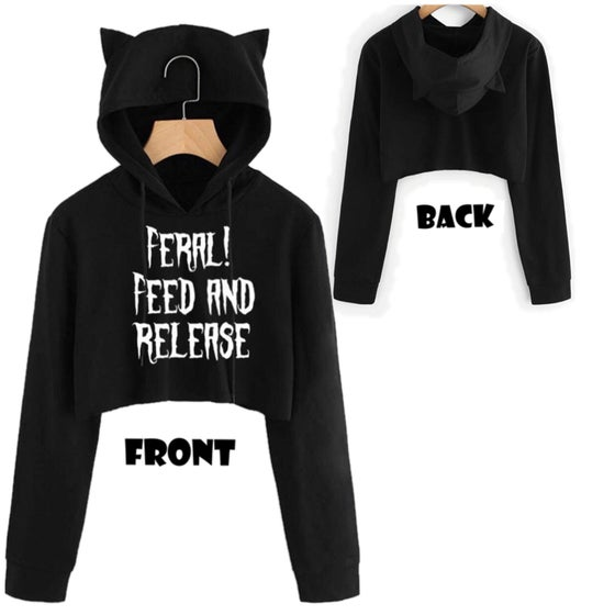 Image of Feral Kitty Cropped Hoodie