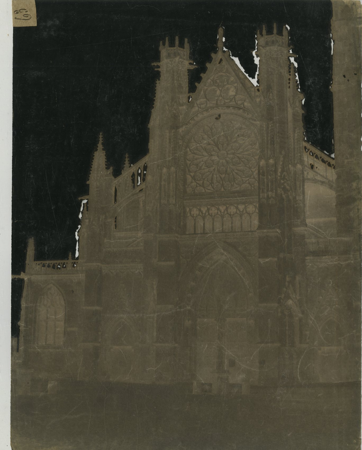 Image of Eugène Nicolas: a waxed paper negative of Saint Jacques, Dieppe, ca. 1855
