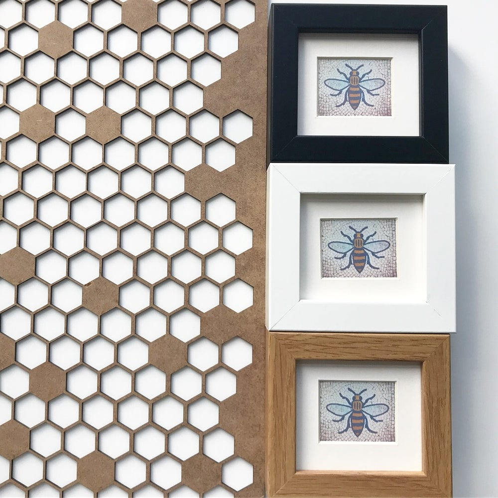 Image of MANCHESTER BEE MINI PRINT SHELF FRAME - 3 COLOURS TO CHOOSE FROM