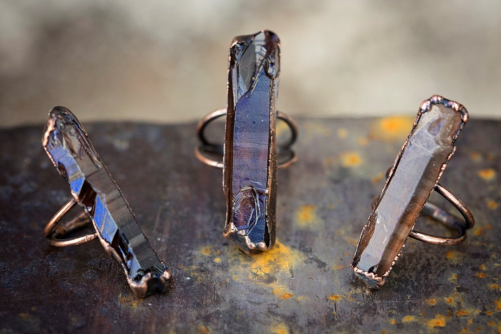 Image of raw stone ring | made to order | smoky citrine crystal + copper