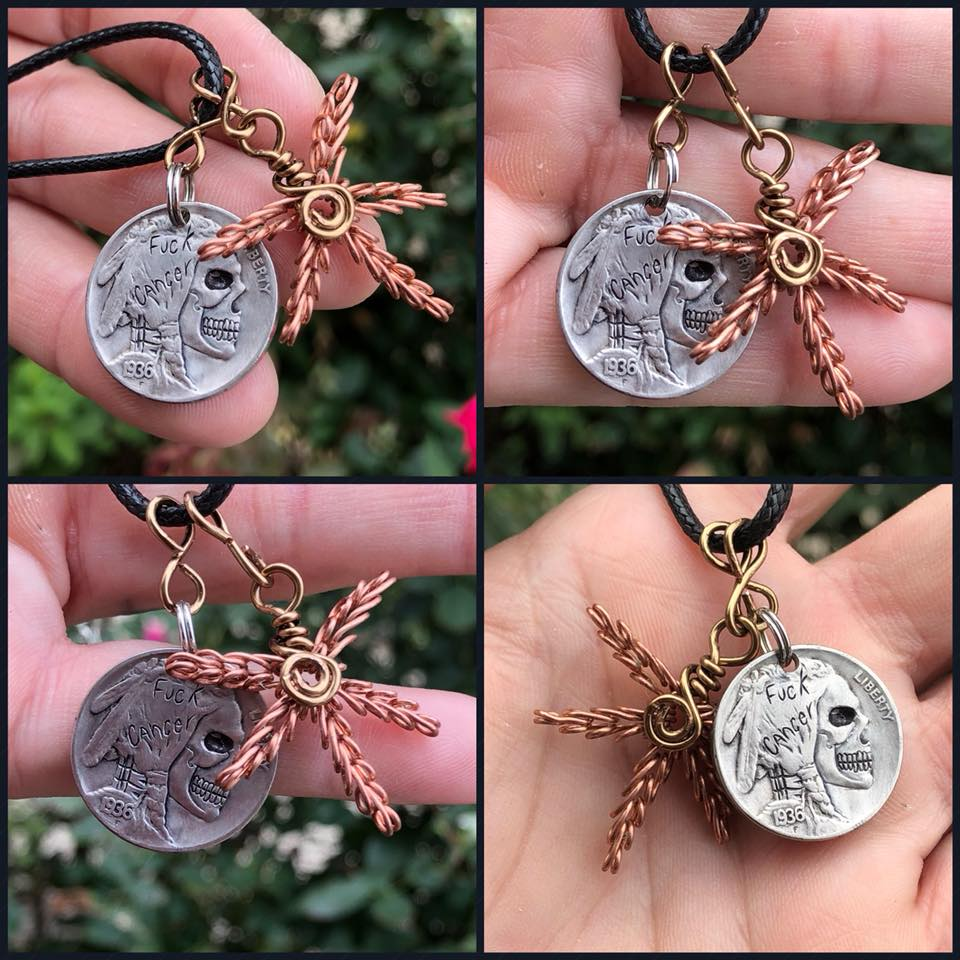 Image of FUCK cancer collaboration necklace