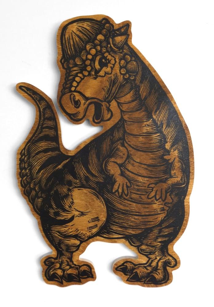 Image of Pachycephalosaurus print on wood **FREE SHIPPING**