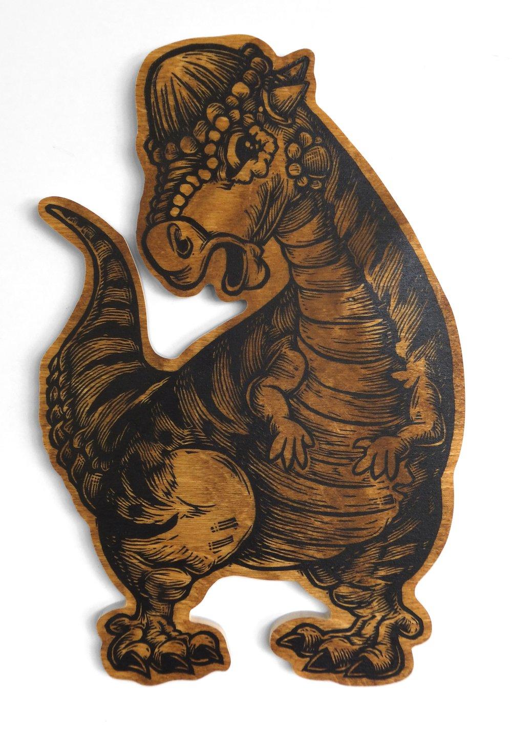Pachycephalosaurus print on wood **FREE SHIPPING**
