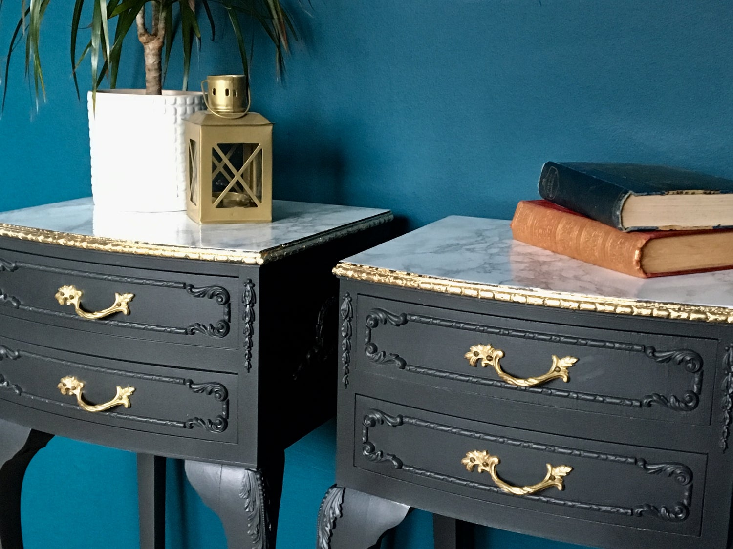 Image of A pair of dark grey, gold leaf & marble bedside tables
