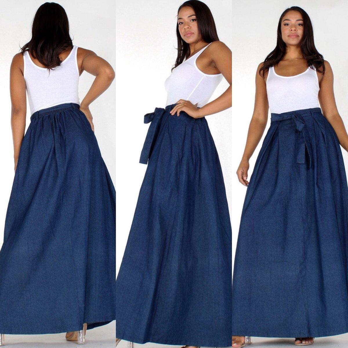 Image of Denim Maxi Skirt