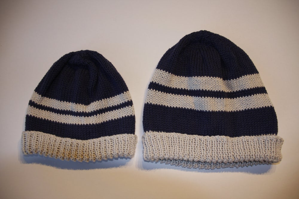 68a270b0a1c Image of Mini-Me Hats Gift Set- Navy. Hand knitted matching hats (sizes S  child +L mens). 100% cotton