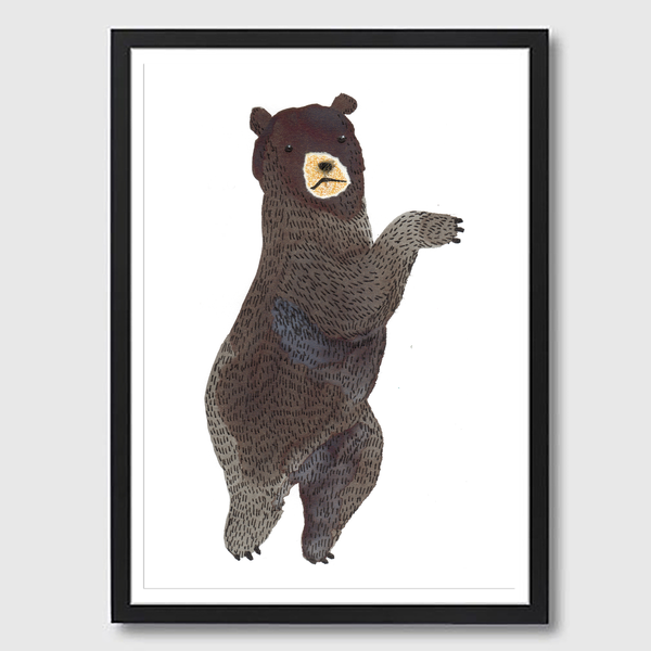 Image of Framed A3 Dancing Bear Print