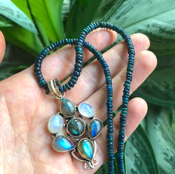 Image of Black Welo Opal, Labradorite + Rainbow Moonstone Amulet Necklace