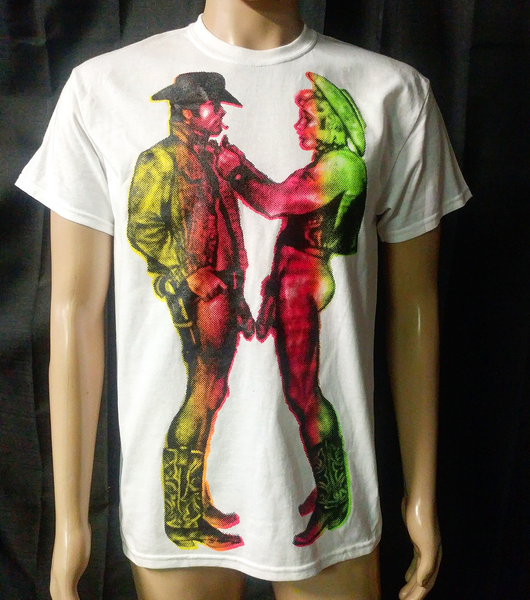 Image of Gay cowboys rainbow tshirt oversized print