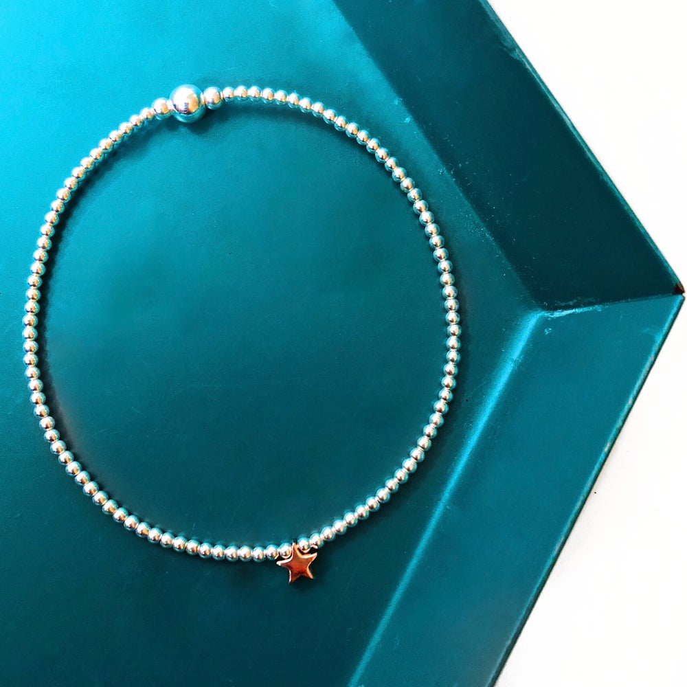 Image of Sterling Silver & Rose Gold Star Bead Bracelet