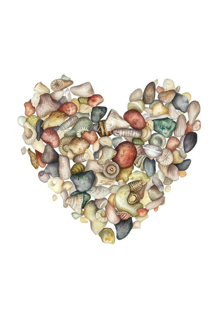 """Gotland"". Fine art print of a heart shaped stone and seashell composition in watercolor."