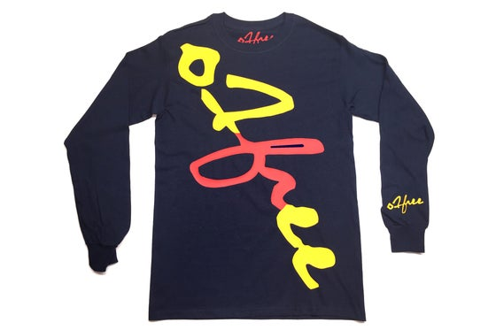 Image of O1free Signature Long Sleeve T-shirt Navy