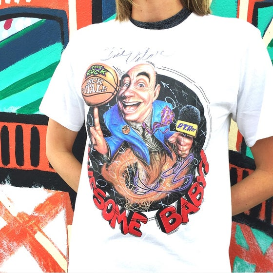 "Image of Vintage 1990's Dick Vitale ""Awesome Baby"" Graphic Print T-Shirt Sz.S"