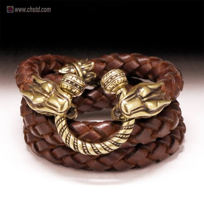 Image of LEATHER CORD With Bronze WOLF HEADS - HANDMADE