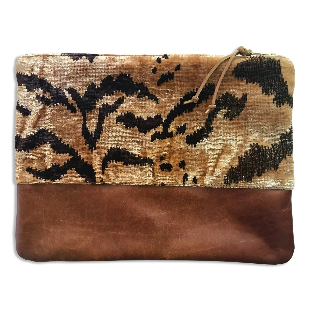 Image of BENGAL TIGER & LEATHER LARGE POUCH