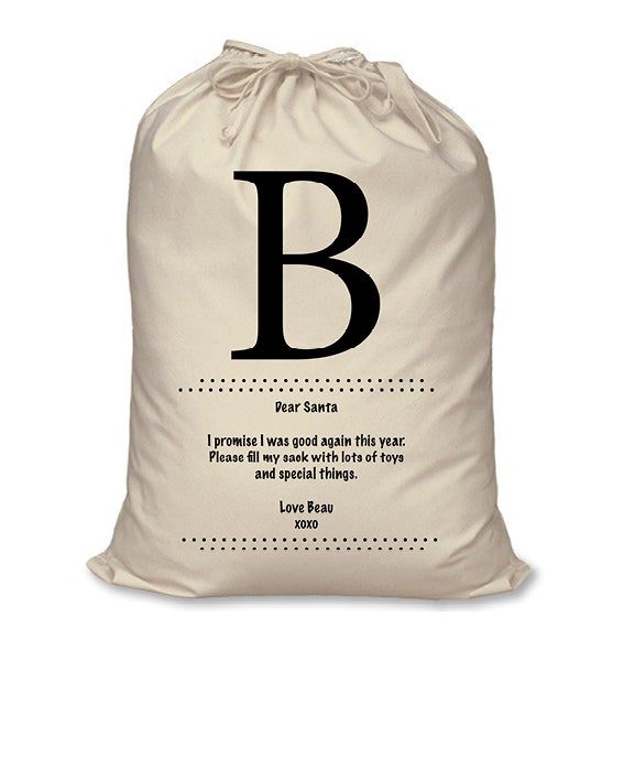 Image of Personalised Christmas Santa Sack - Letter To Santa - Calico or Red