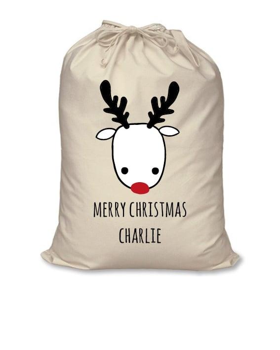 Image of Personalised Christmas Santa Sack - Reindeer