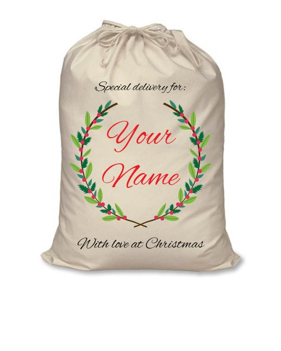 Image of Personalised Christmas Santa Sack - Christmas Wreath - Calico