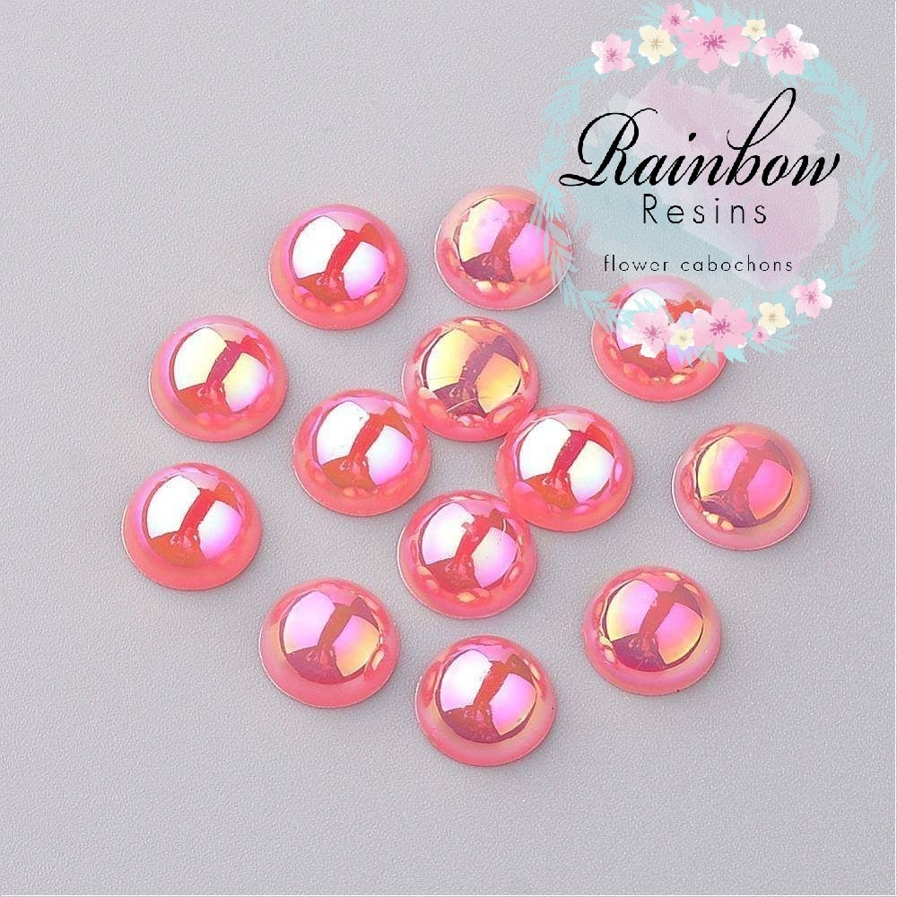 Image of Dusky pink 8mm half pearls AB coating x 100