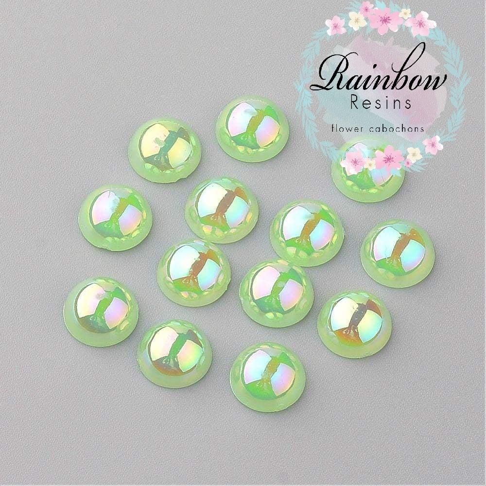 Image of Light green 8mm half pearls AB coating x 100