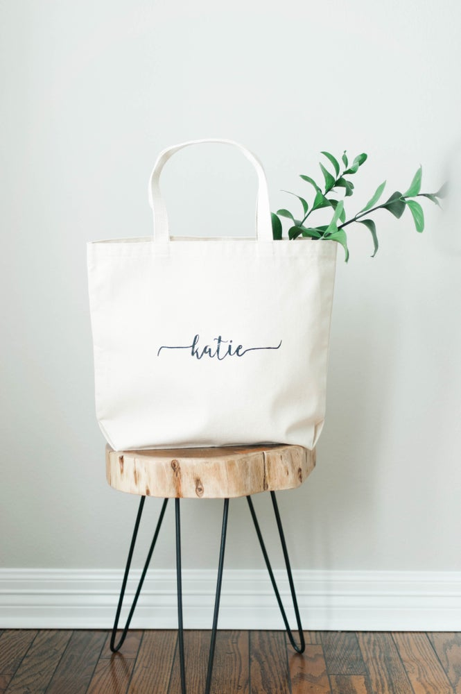 Image of PERSONALIZED CALLIGRAPHY CANVAS TOTE