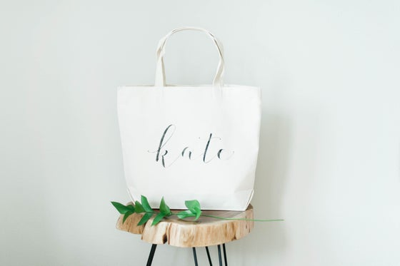 Image of PERSONALIZED CANVAS TOTE WITH OUTER POCKETS