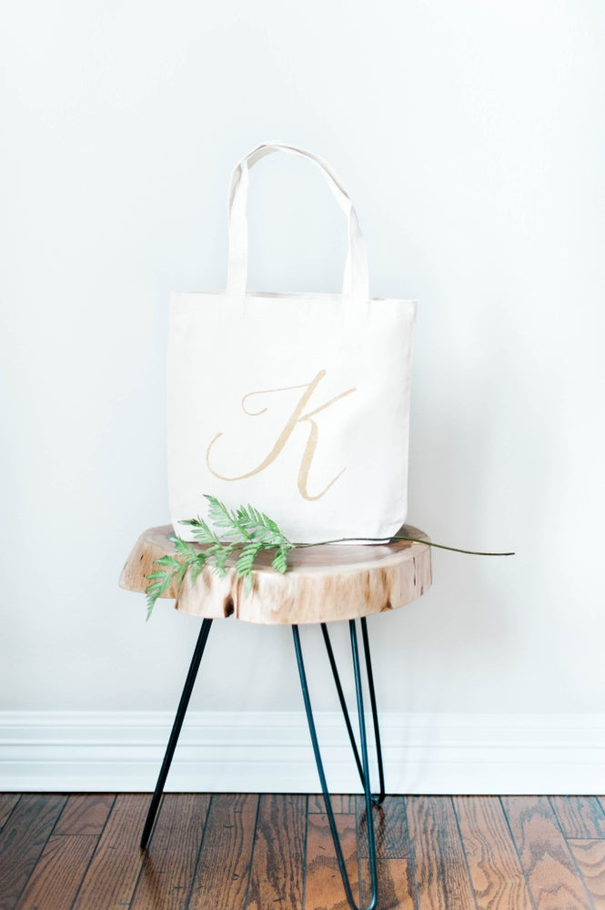 Image of Canvas Medium Tote Bag With Gold Monogram