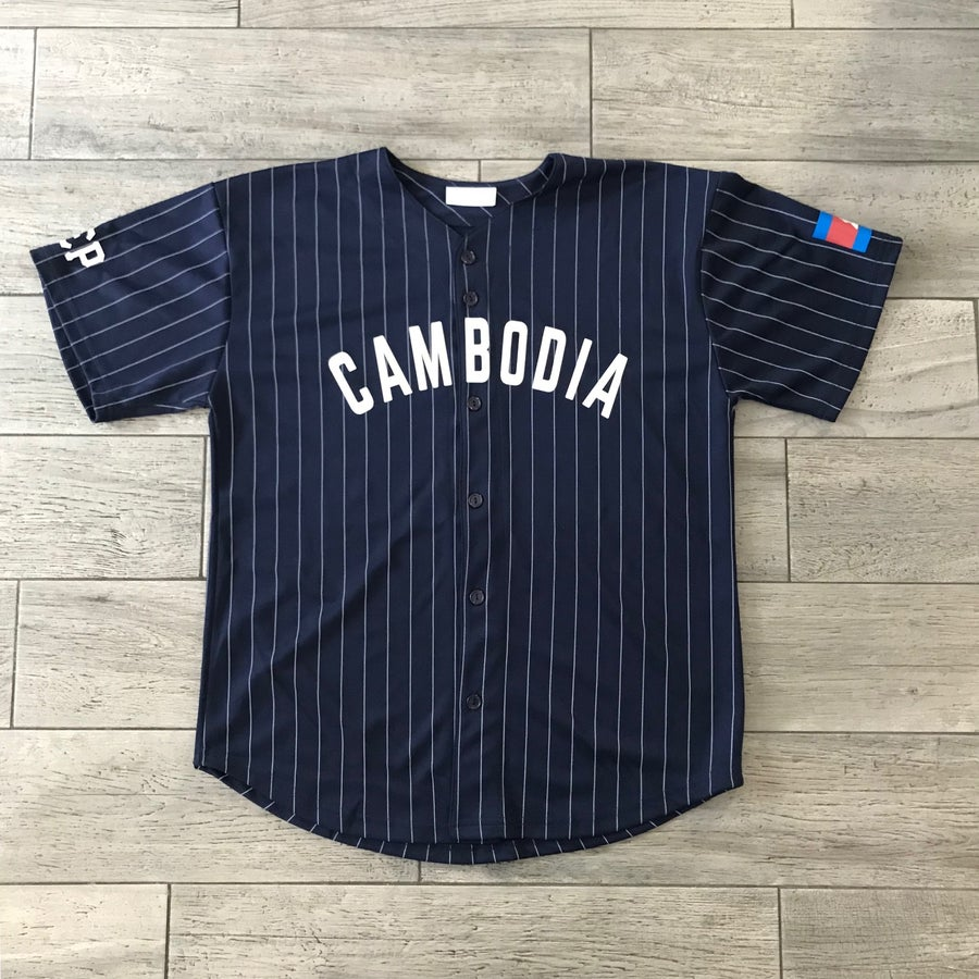Image of NAVY BLUE PIN STRIPED BASEBALL JERSEY