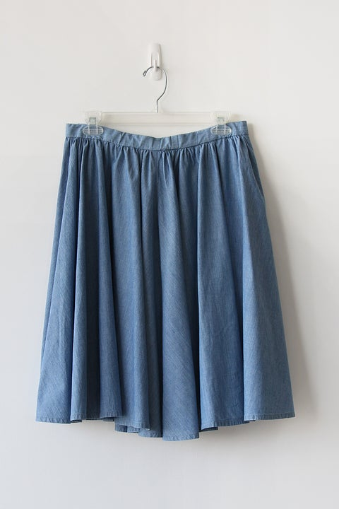 Image of Full Circle Chambray Cotton Skirt
