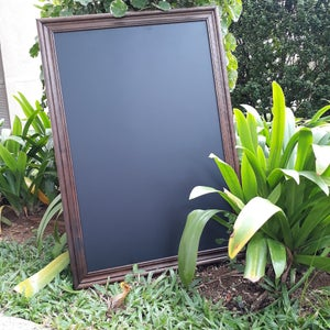 Chalkboard With Corrugated Walnut Frame