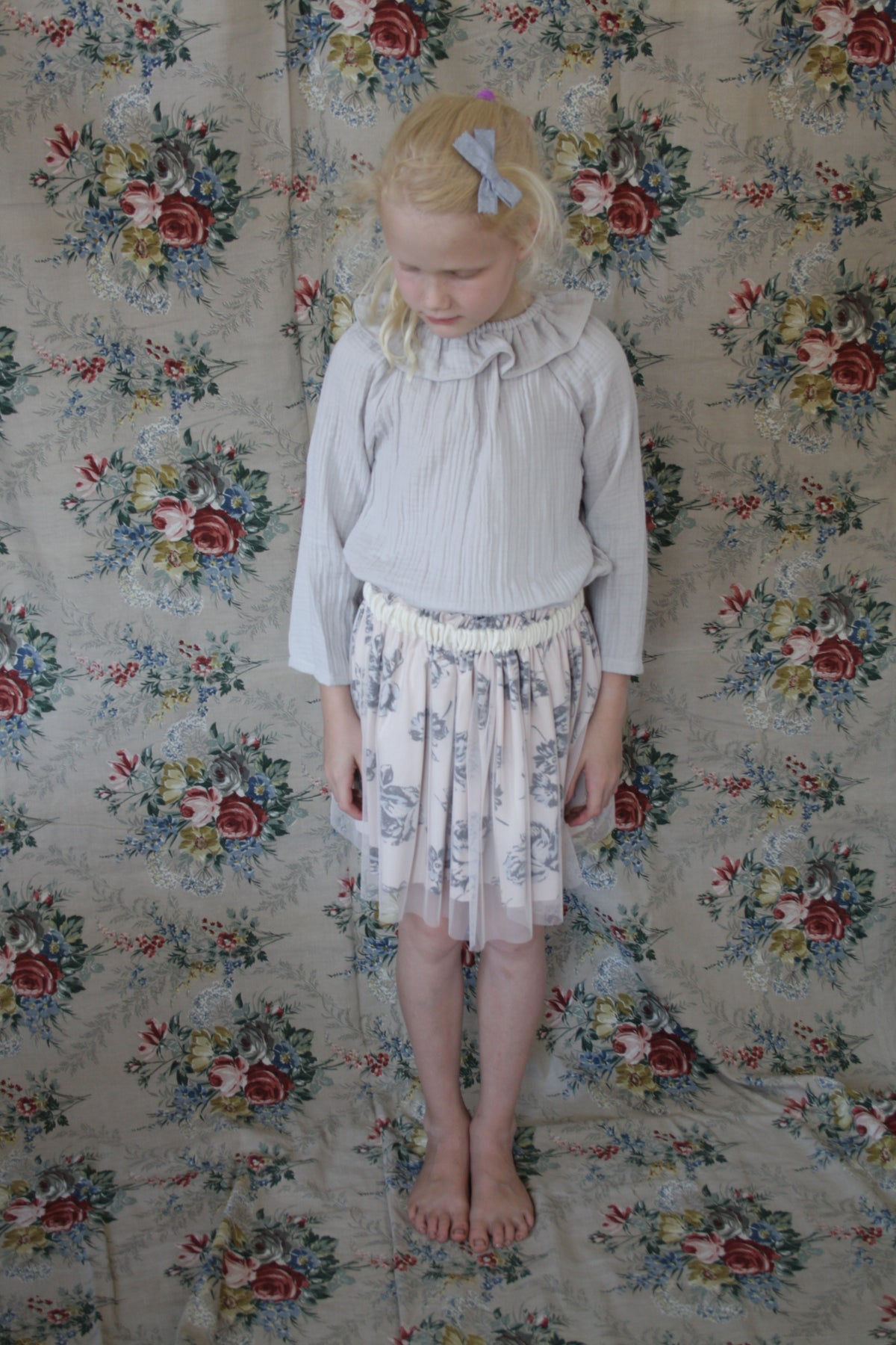 Tulle Skirt-cream flowers
