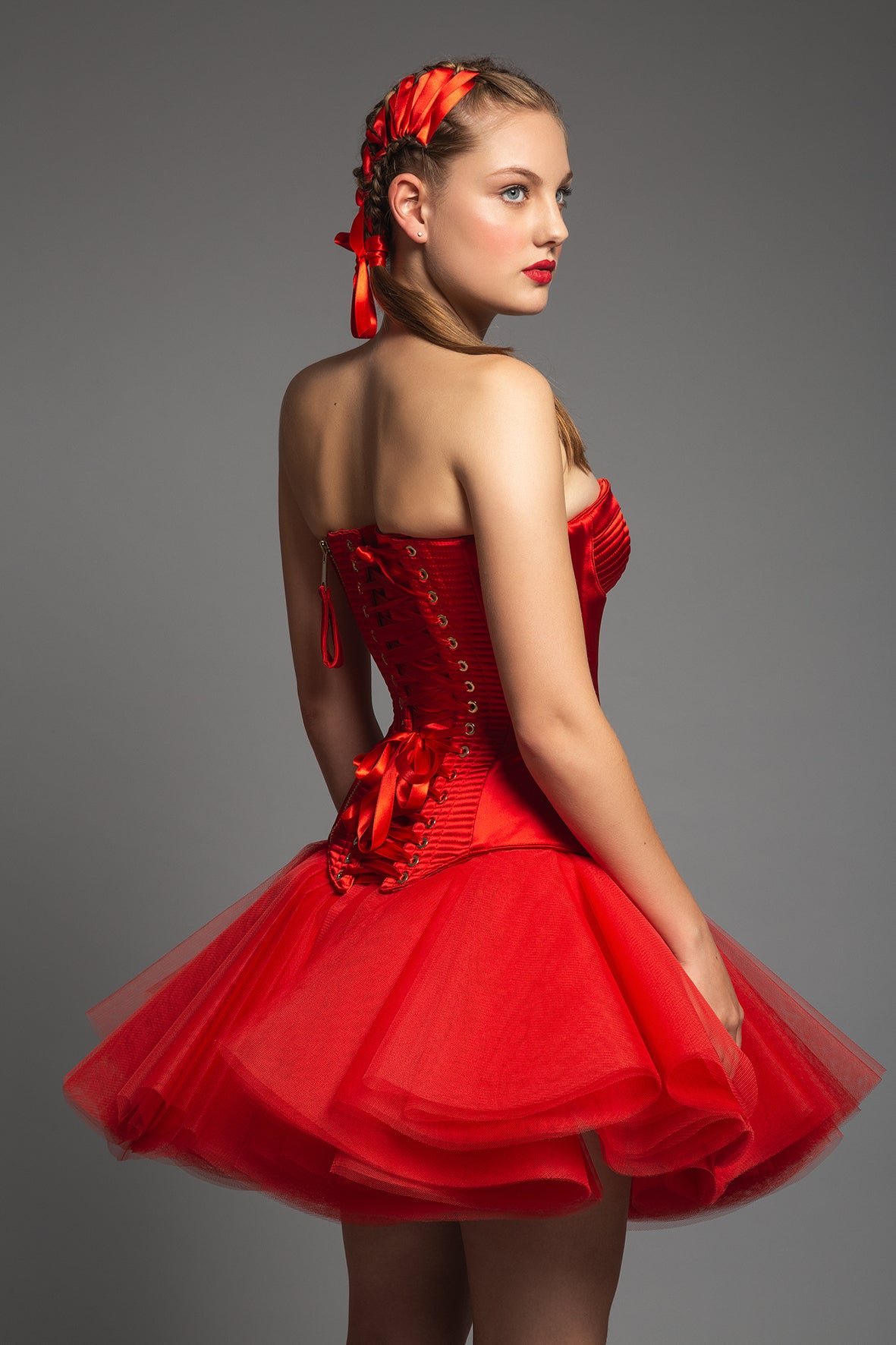 ULTRA SHINE RED SATIN STITCHINGS CORSET