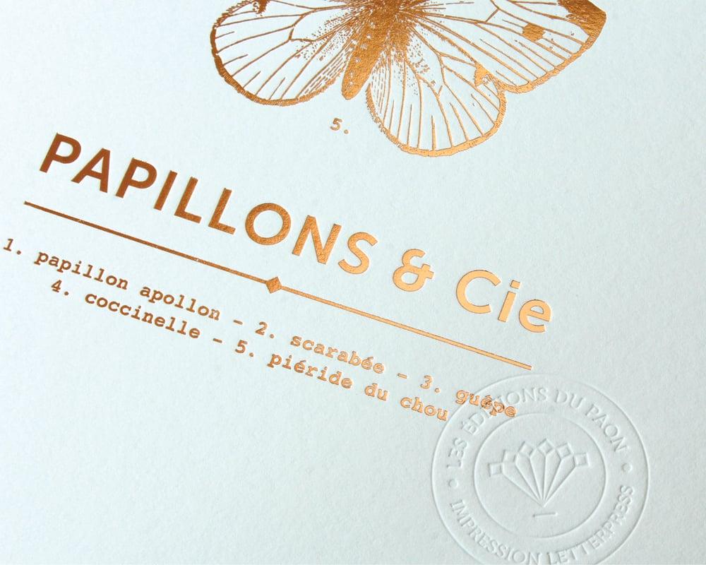 """Image of AFFICHETTE """"PAPILLONS & CIE"""" VERT D'EAU"""