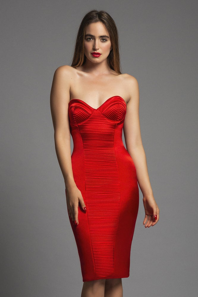 Image of ULTRA SHINE RED PASSION STITCHING CORSET-DRESS