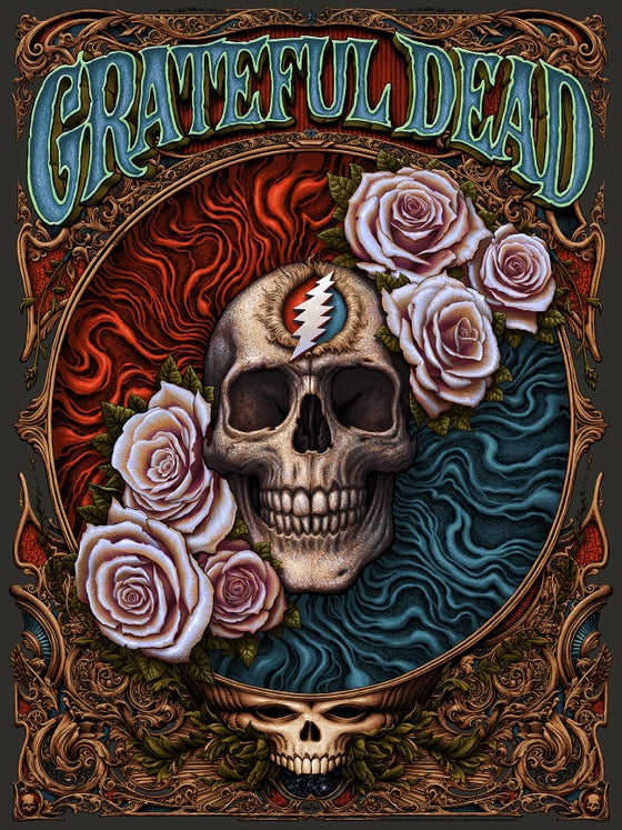 "Image of ""Grateful Dead"" screenprint: Black Licorice and Red Mirri Foil"