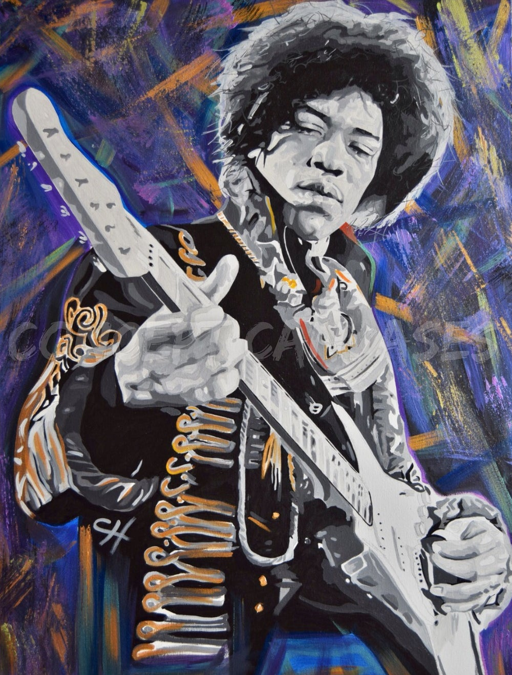 Image of Jimi Hendrix 'Safe Kind Of High' Hand Painted Original