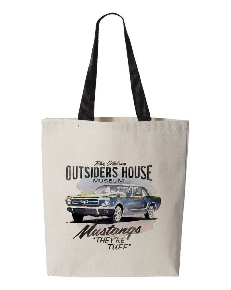 "Image of The Outsiders House Museum Mustangs ""They're Tuff"" Canvas Tote Bag."