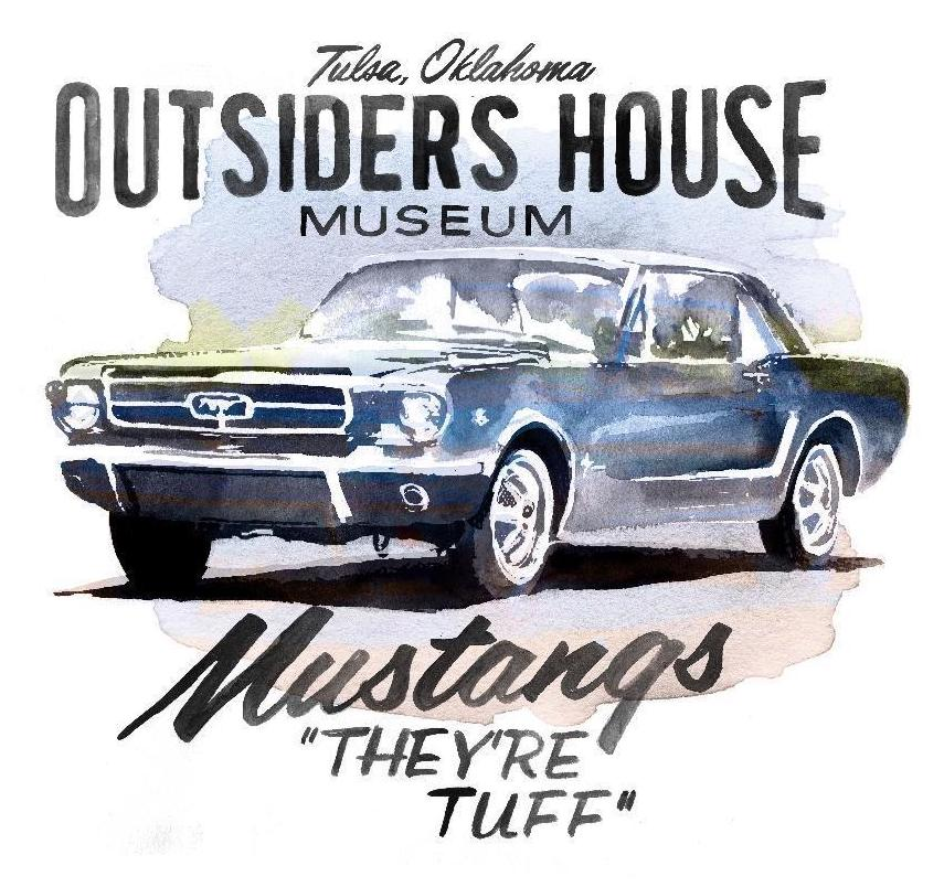 "Image of The Outsiders House Museum Tulsa, Oklahoma. Mustangs ""They're Tuff"" White T-Shirt."