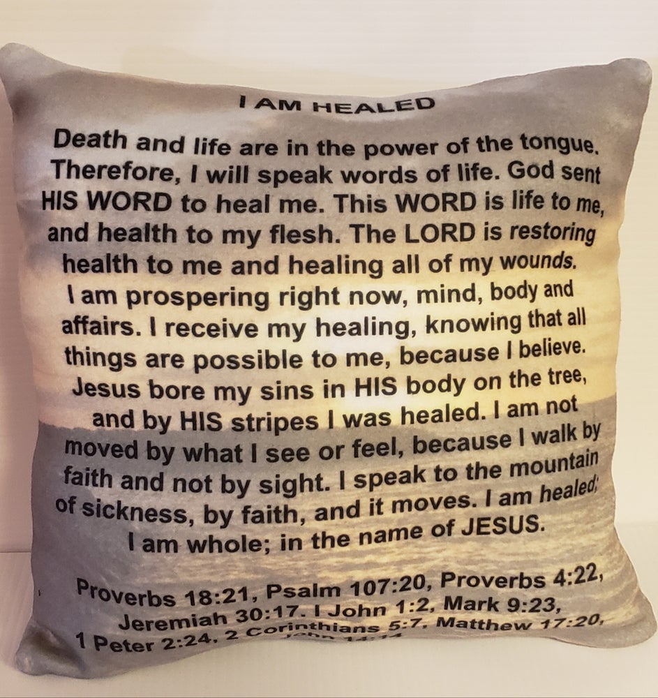 """Image of Scripture Confession Prayer Pillow """"I am healed"""""""